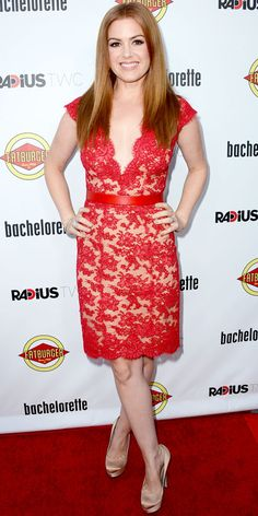 Isla Fisher hit the premiere of Bachelorette in a Reem Acra sheath, Bulgari gems and nude satin pumps.