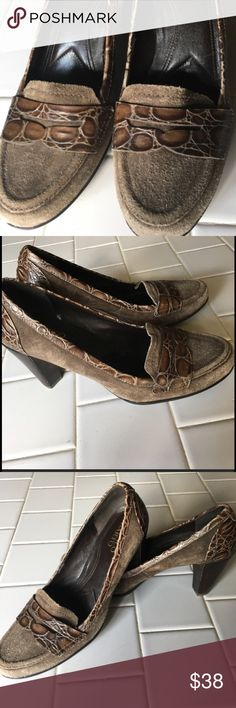 Franco Sarto Heeled Loafers Leather uppers that are the quality one expects from Franco Sarto! Brown suede with a reptilian leather adornment across the top of the shoe. Good used condition.  Non smoking home.  Heels are appropriately 3 inches. Franco Sarto Shoes Heels