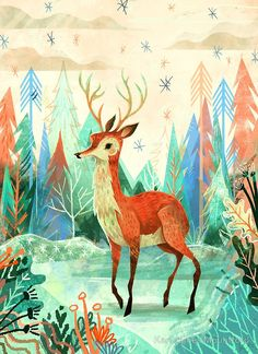 Deer  by Karl James Mountford on Redbubble. Beautiful for autumn and winter, Mountford's illustration style is gorgeous on notebooks, prints, and phone cases.