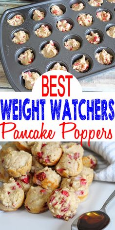 Weight Watchers Breakfast! No NEED to spend hours baking a Weight Watchers breakfast recipe when you can make these delicious & easy strawberry pancake poppers! Strawberry pancake bites Weight Watchers idea! Check out these simple & fast mini pancake muffins Weight Watchers breakfast - grab & go, on the go, or make ahead. Not low carb but perfect for WW. Great snack, treat, or dessert. Great for parties (football, Valentines, Easter, birthday, bridal shower) #weightwatchers #smartpoints