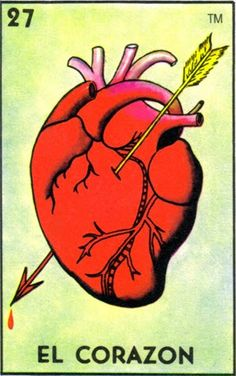 La Loteria is a mexican game similar to Bingo. instead of numbers on the cards their are images with the name of an object or person. Loteria Cards, Kunst Tattoos, Old School Tattoo Designs, Frida Art, Arte Popular, Mexican Folk Art, Heart Art, Halloween, Original Art