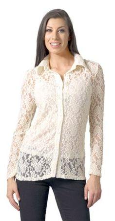 Bacci Womens Joyce Button Down Lace Blouse Camisole « Clothing Impulse