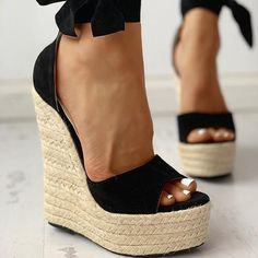 Sandal Type: Ankle-WrapSide Vamp Type: OpenOccasion: PartyClosure Type: Lace-UpBack Counter Type: Ankle StrapFashion Element: Platformheels height: about 16 cmplatform: about 6 cm Platform Wedge Sandals, Wedge Heels, High Heels, Black Wedge Shoes, Wrap Shoes, Ankle Wrap Sandals, Ankle Shoes, Shoes Heels, Boho Heels