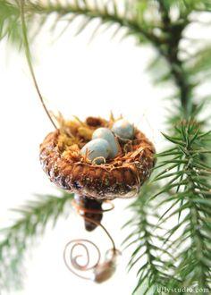 Miniature fairy garden acorn birds nest with beads. $6.99, via Etsy.  from:DragonflyStudioArts