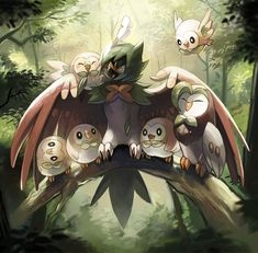 Rowlet, Dartrix, and Decidueye