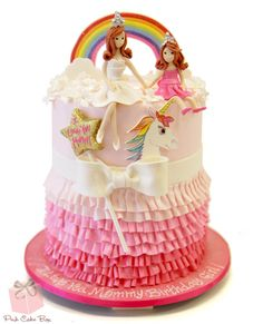 Princess Ruffle Rainbow Cake by Pink Cake Box in Denville, NJ.  More photos and videos at http://blog.pinkcakebox.com/princess-ruffle-rainbow-cake-2013-12-09.htm