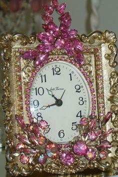 A Beautiful Pink Rhinestone Jeweled  Seth Thomas Vintage Alarm Clock 2-Phinney, Walker, Clock, Vintage, Pink, Rhinestones, Alarm, Vintage, Victorian,