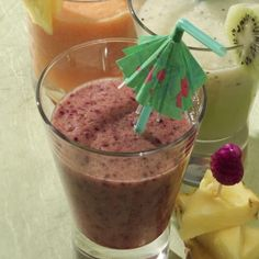 Berry-Banana Smoothie- Drinking a smoothies is a great way  to quell hunger cravings, satisfy a sweet tooth, and pack in produce. Load up on low-calorie berries and add a touch of honey for sweetness like we do in this Berry-Banana Smoothie recipe. Use just half of a banana to keep the calorie count under 100 without losing the creamy texture.
