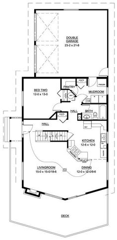 1500+ ft Great layout. Pantry, laundryroom. Put garage under house. Master suite and loft!. I would use space for balcony to create another closet. First Floor Plan of A-Frame   House Plan 99943