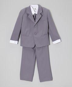 Look what I found on #zulily! ClassyKidzShop Gray & White Five-Piece Suit - Infant, Toddler & Boys by ClassyKidzShop #zulilyfinds