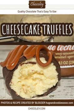 Cheesecake Truffles Recipe made with homemade cheesecake dipped in creamy milk chocolate and drizzled with dulce de leche. Kinda like a cake pop or cake ball but with cheesecake instead. Perfect for d Cheesecake Truffles Recipe, Homemade Cheesecake, Truffle Recipe, Chocolate Cheesecake, Chocolate Recipes, Oreo Truffles, Chocolate Truffles, Truffle Pasta, Lemon Truffles