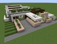 Modern Private House 5 - GrabCraft - Your number one source for MineCraft buildings, blueprints, tips, ideas, floorplans! Minecraft Mods, Villa Minecraft, Minecraft Modern City, Minecraft Houses Blueprints, Minecraft House Designs, Cool Minecraft Houses, Minecraft Architecture, Minecraft Crafts, Minecraft Buildings