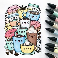 Kawaii coffee colouring page free download from Kate Hadfield Designs! Super cute adult coloring page!