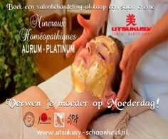Moederdag aanbieding 2016. Een Aurum (goud) salonbehandeling met de Utsukusy Aurum lijn van 1,5 uur en een pot Aurum crème van 50ml voor mee naar huis. Bekijk onze aanbiedingen op http://www.utsukusy-schoonheid.nl/c-3433532/moederdag-cadeau-actie/