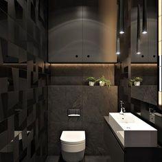 2 Masculine Interiors in Shades of Grey Black & Brown - Modern Diy Bathroom Decor, Bathroom Interior Design, Modern Bathroom, Black Toilet, Small Toilet, Black And White Tiles Bathroom, Black Bathrooms, Open Plan Apartment, Futuristisches Design