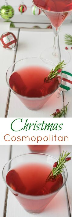 Christmas Cosmopolitan is made with pomegranate juice, ginger beer (or ale) for sweetness and, of course, vodka. Perfect for New Years Eve.