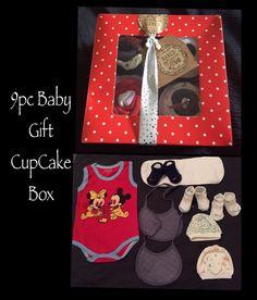 ALL NEW 9pc Baby Boys BABY Shower CUPCAKE Hamper Gift Box Set H22