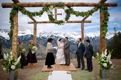 Love the altar with mountain scenery