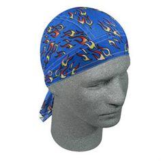 Small Yellow Flames on Blue Doo Rag Headwrap Skull Cap #ZanHeadgear #DuRagBiker