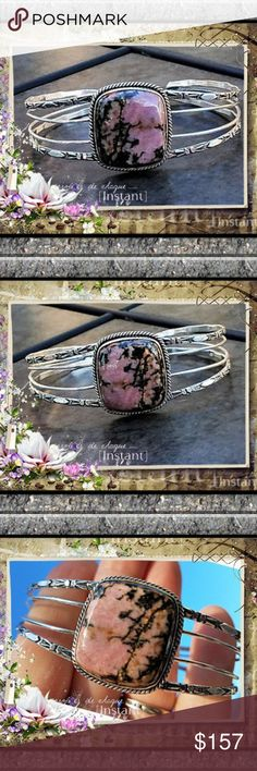 Genuine Rhodonite Cuff Bracelet Genuine Rhodonite  Adjustable Cuff Bracelet Sterling Silver *Handcrafted in India  Rhodonite is known for the capacity to bring emotional healing  and to release blocked energy from within the heart chakra. Rhodonite Jewelry Bracelets