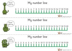 Here's a set of three different dinosaur themed number lines to 20.