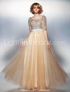 ラインスクープ床の長さのチュールとスパンコールのイブニングドレス - JPY ¥ 14,362
