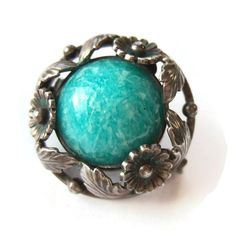 SOLD. Vintage N E From amazonite + sterling silver floral brooch, Danish silver 1950s Niels Erik From daisy flower design, teal blue green pin.  https://www.etsy.com/listing/261426279/vintage-n-e-from-amazonite-sterling