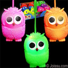 FLASHING OWL PUFFER YO-YO BALLS. Pick up by the loop and use as a punch ball to activate the flashing LED's inside. Batteries included. Each dozen includes a display unit. Assorted bright colors. Perfect for Easter basket toys, party favors and Christmas stocking stuffers.Size 3.75 Inch Owl,