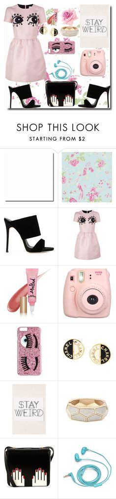 """""""Stay weird in pink"""" by madelinemuir ❤ liked on Polyvore featuring Graham & Brown, Giuseppe Zanotti, RED Valentino, Too Faced Cosmetics, Fujifilm, Chiara Ferragni, Chanel, Urban Outfitters, Lulu Guinness and FOSSIL"""