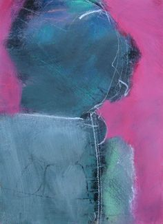 Pink & Green Variation #4 - 14 X 10 inches  - Acrylic & Gesso on Paper