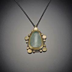 Rose Cut Aquamarine Necklace with Gold Dots | Ananda Khalsa Jewelry
