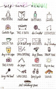 Blessing Manifesting - Making self care and self love part o.-Blessing Manifesting – Making self care and self love part of the everyday. My Self Care Menu for my Bullet Journal Mein S - Self Care Bullet Journal, Bullet Journal Ideas Pages, Bullet Journal Inspiration, Bullet Journal For Mental Health, Bullet Journal Anxiety, Journal News, Vie Motivation, Self Care Activities, Counseling Activities