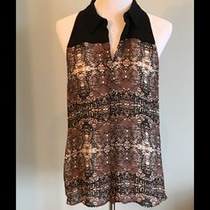 SALEA.L.C. Washed Silk Print Top (L) Gorgeous silk print halter style collared top. Button Henley placket. Black, brown and cream print. EUC. No trades. A.L.C. Tops Blouses
