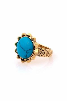 #shopthetrendboutique.com #ring                     #House #Harlow #1960 #Pyramid #Engraved #Spike #Ring #with #Turquoise         House of Harlow 1960 Pyramid Engraved Spike Ring with Turquoise                                         http://www.seapai.com/product.aspx?PID=970918