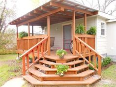 We need to rebulid our back deck.this seems simple Outdoor Ideas, Backyard Ideas, Outdoor Decor, Ranch Addition, Manufactured Home Porch, This Ole House, Stair Makeover, Decks, Garden Landscaping