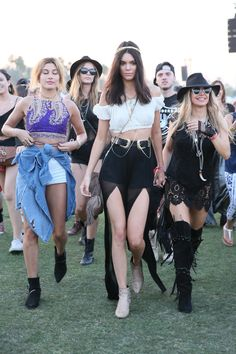 Celebrities at Coachella 2015 - Hailey Baldwin, Fergie, and Kendall Jenner leading the pack in a cropped sleeveless blouse + chiffon maxi skirt  with double slits