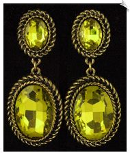 Clip On Earrings - Rhinestone Glamour (SKU: SOL5444) Vintage Style Antique Goldtone Dangle Clip On Earrings Accented with Lime Green Rhinestones $30 @ www.whimzgirlclipearrings.com
