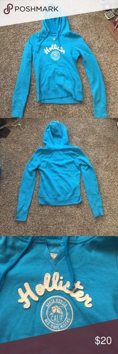 Hollister pull over Size small. No stains or snags. Brand new condition. Hardly ever worn. I have a habit of buying clothes and only wearing once. From hollister. Color is a deep teal. Hollister Jackets & Coats