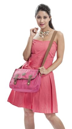 Synthetic Sling bag in pink