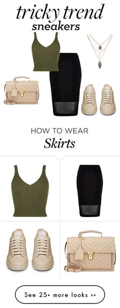 """""""Tricky Trend: Pencil Skirts and Sneakers"""" by sad11 on Polyvore featuring River Island and Yves Saint Laurent"""