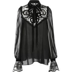 Elie Saab     Lace and Velvet Blouse ($1,750) ❤ liked on Polyvore featuring tops, blouses, elie saab, shirts, black, sweatshirts, neck tie blouse, lace sleeve shirt, velvet shirt and peasant blouse