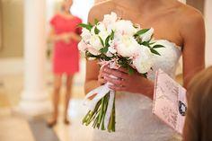 My work, bridal bouquet with peony, nerine, lathyrus