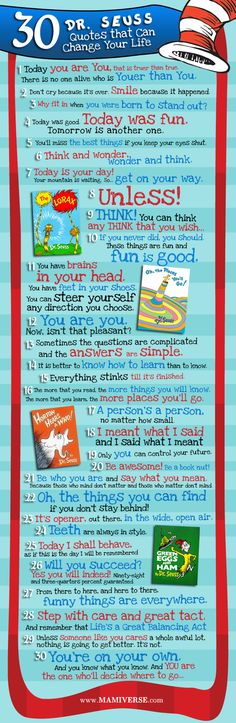 Awesome graphic with 30 Dr. Seuss quotes to live by. So cool!