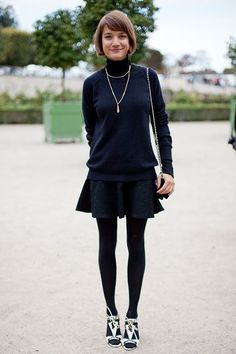 STREET STYLE SPRING 2013: PARIS FASHION WEEK - A textured fluted skirt is simple and cool.