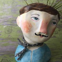 Felix. Clay Head Planter by LittleSageCreations on Etsy