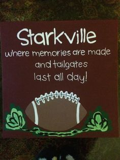 This is perfect for every football fan! I made this for my alma mater, Mississippi State University, but this can be customized with your college town/colors! Mississippi State Football, Football Quotes, Alma Mater, College Football, State University, Canvases, Craft Projects, Crafting, Fan