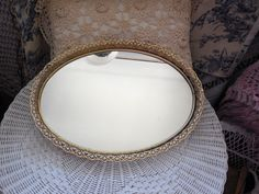 Ornate Gold Vanity Mirror 17 Inches Long Very Pretty by Daysgonebytreasures on Etsy