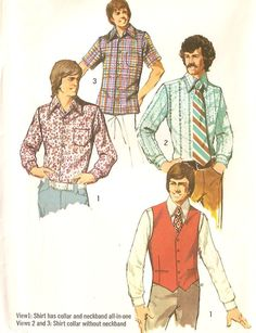 Simplicity vintage 1970s sewing pattern 5047 Men's shirt and vest - Chest size 40