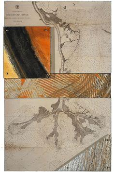 Mary Bennett.  Huck Finn Still Plies the Mississippi XVIII  •  2007   Reproduction of vintage Louisianna Territory map,   paint, mixed media, gold brads,   beeswax on masonite panel.