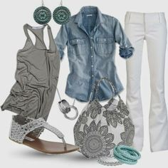 Light blue denim shirt, grey tank top, white pants, white sandals, white oversized handbag with grey flowers and matching accessories